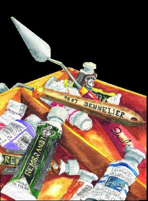 Un chevalet avec des tubes de peintures à l'huile