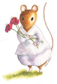 Marquerette tient un bouquet de coquelicots