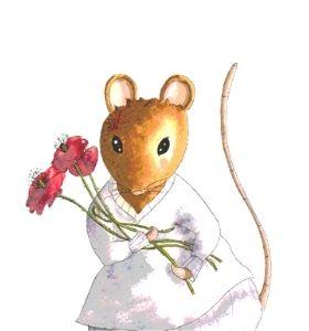 Souricette vous regarde avec un bouquet de fleurs dans les bras